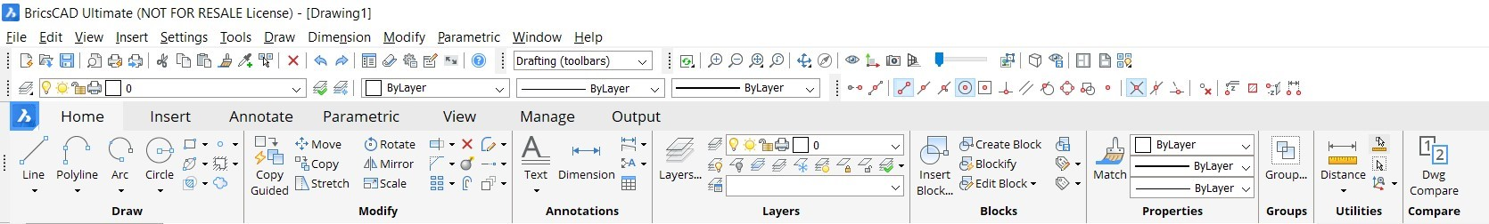 the ribbon customize it in BricsCAD