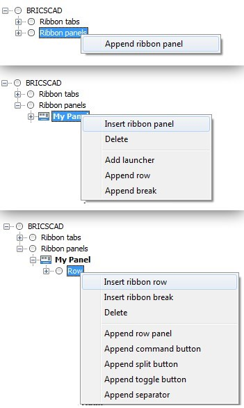 edit ribbon panels in BricsCAD