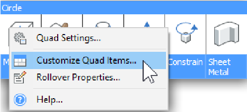 the customize dialog for the quad
