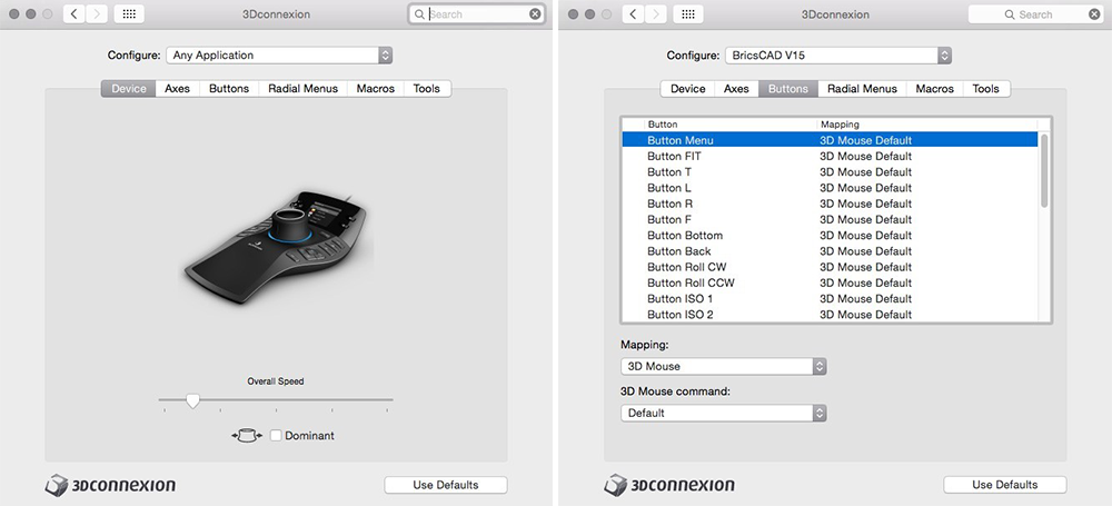 3d mouse in BricsCAD buttons and settings
