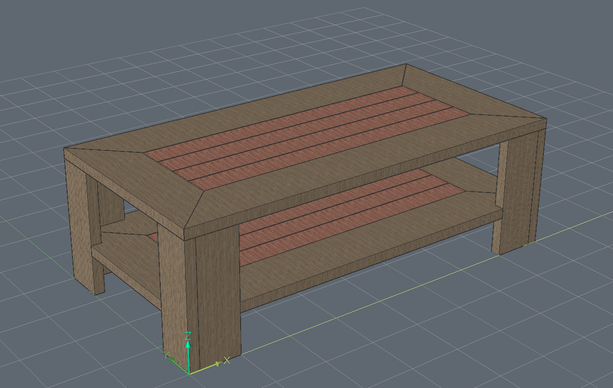 table with simple wood materials applied