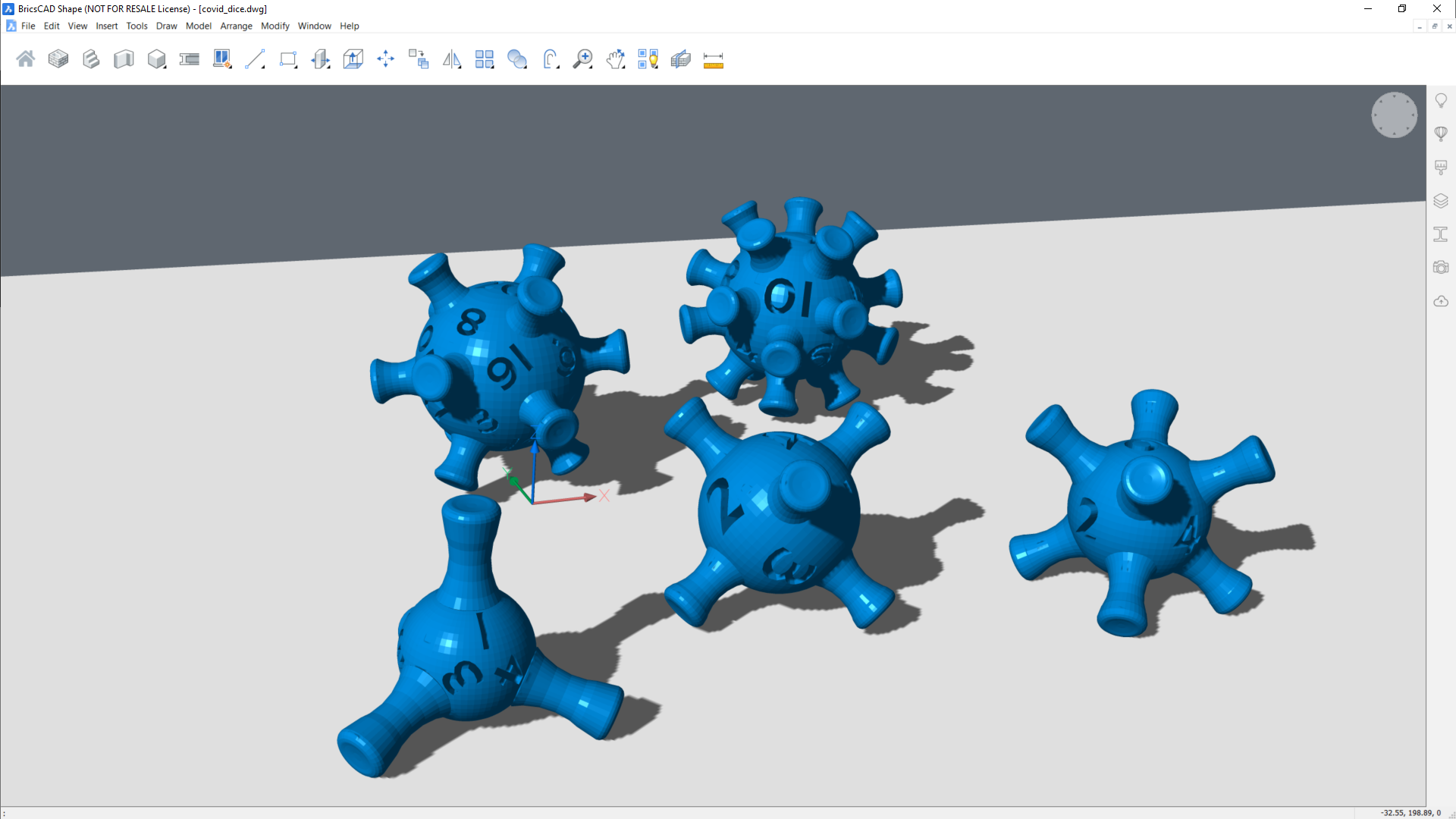 Covid 19 corona virus 3d printable dice set