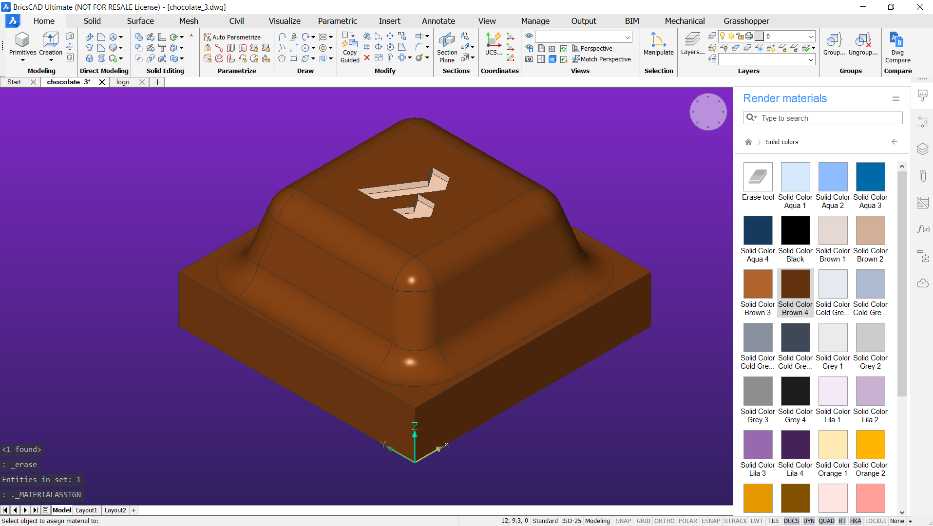 add matterials to the block of chocolate 3d model