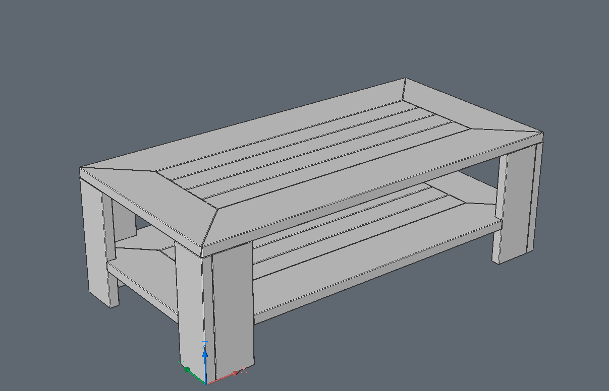 3d model of table to materials added
