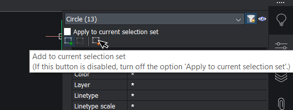 adding to selection set Quick Select