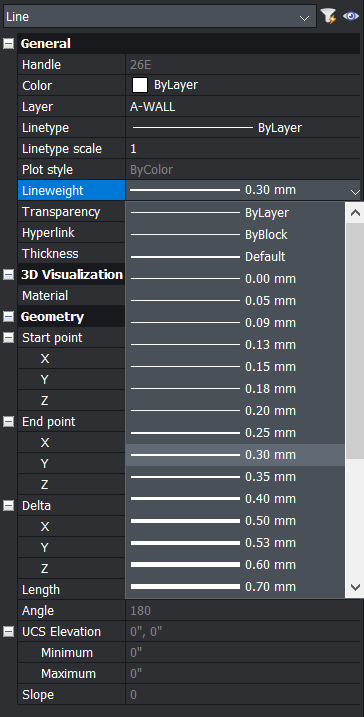 line weights in the properties panel