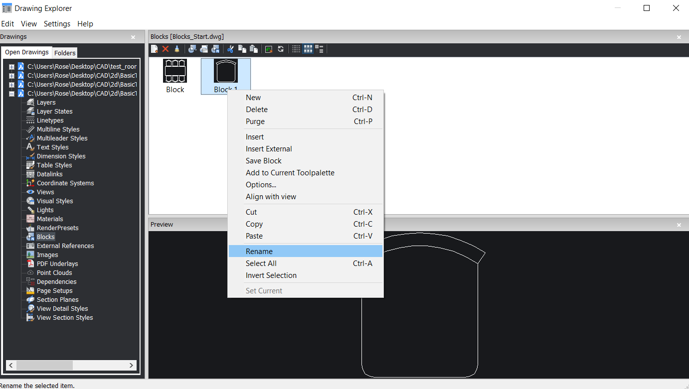 rename a block with the drawing Explorer