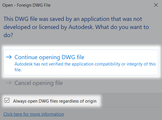 this dwg file was saved by an application that was not developed