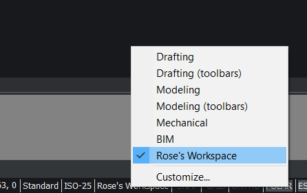 custom workspace bricscad