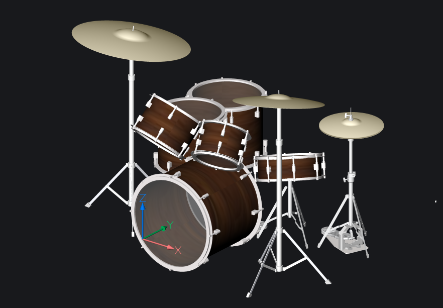 3d model drumkit bricscad