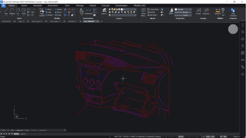 Output vector results in BricsCAD of Car interior