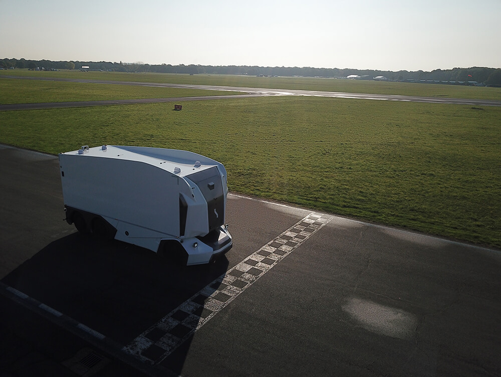 top gear track start line pod self driving truck