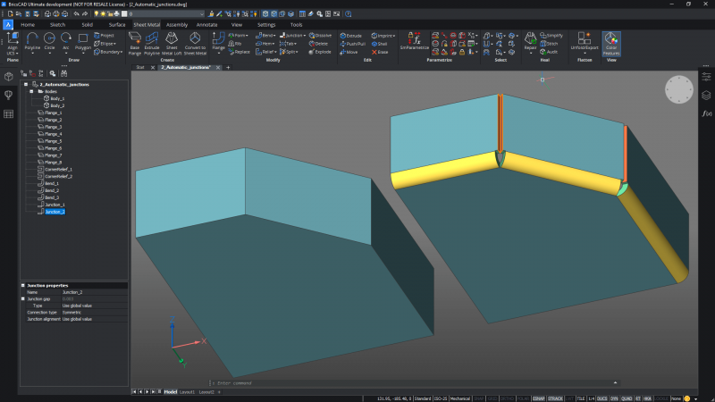new for BricsCAD Mechanical v21 automatic junction allocation