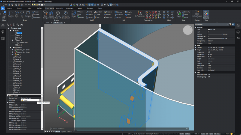new for bricscad v21 mechanical sheet metal thickness