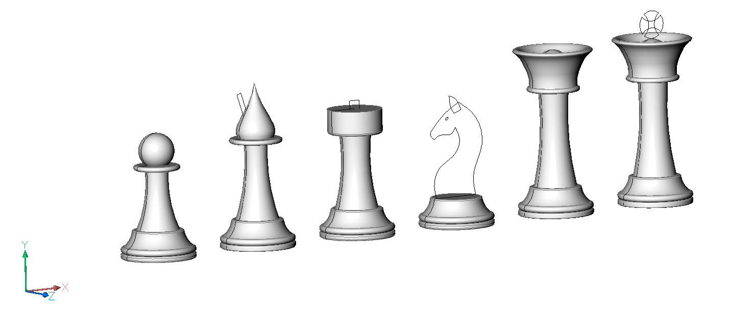 mid way through modeling chess peices