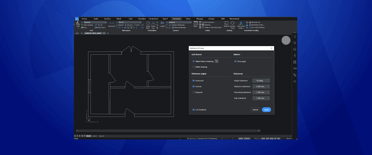 Optimization tools – New for BricsCAD V21