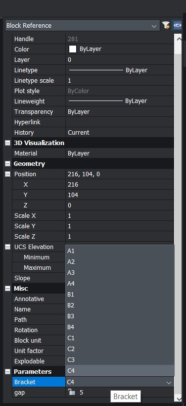parametric block options in the properties panel