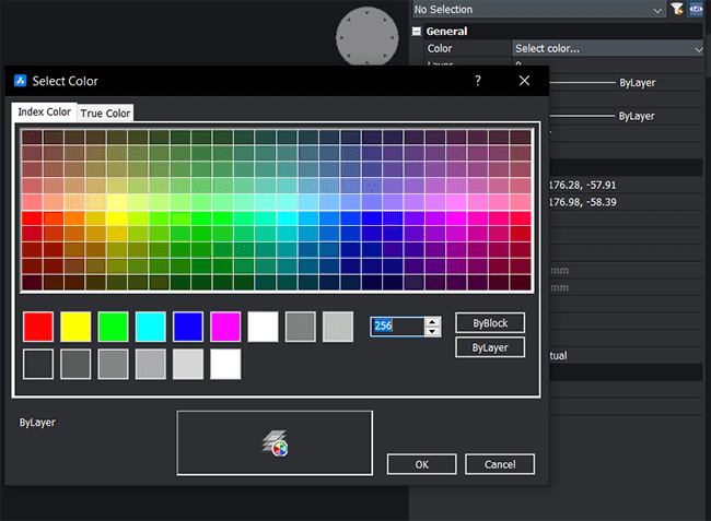 colour choice in bricsCAD