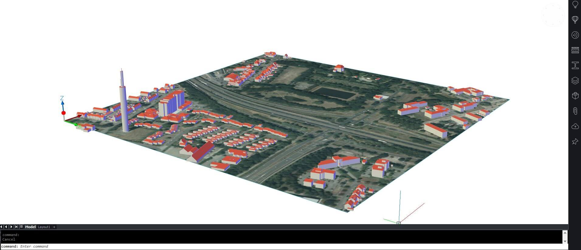 GIs data model with rendered image on TIn surface and buildings