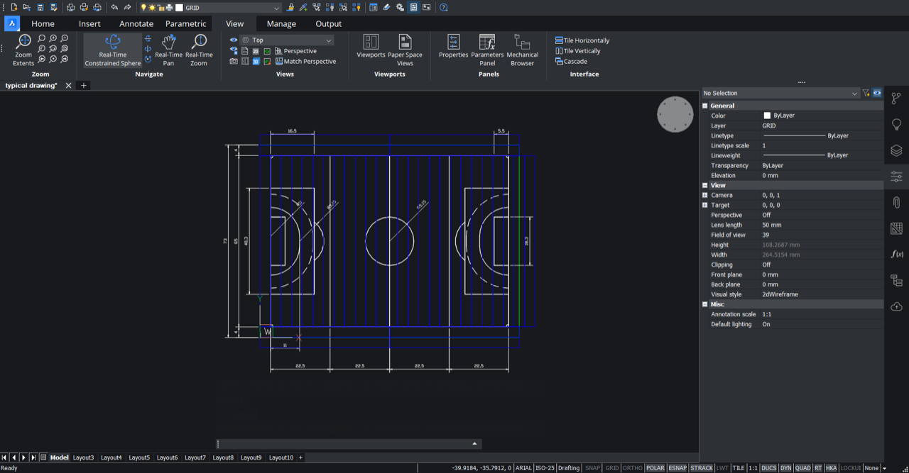 2d drawing in bricscad Playrite