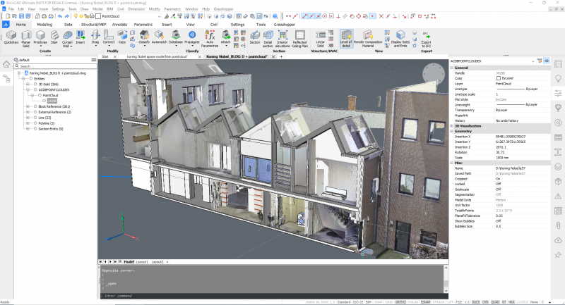 3D Model with BIM and Point Cloud Detail