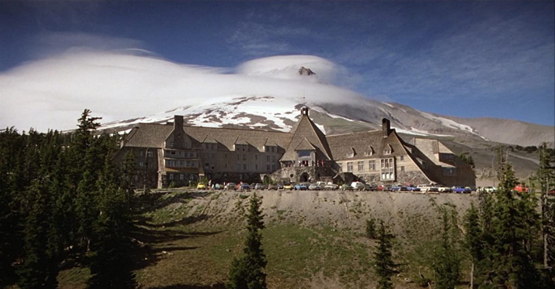 Still from 'The shining' introducing the Overlook Hotel